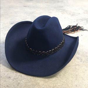 Vintage Western Navy Felt Wool Cowgirl Hat 60s 70s
